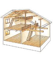 1階天井をあらわしの構造、2階を勾配天井にすることで1.5倍の大空間を実現