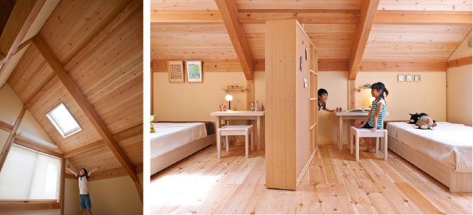 郷の家は、小屋裏のスペースを利用して「隠れ家」気分のロフトスペースが可能。書斎として、趣味の部屋として、納戸として、家族みんなのユーティリティースペースが作れます。